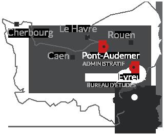 Carte de situation Atemis (Administratif et Bureau d'étude) en France et en Normandie